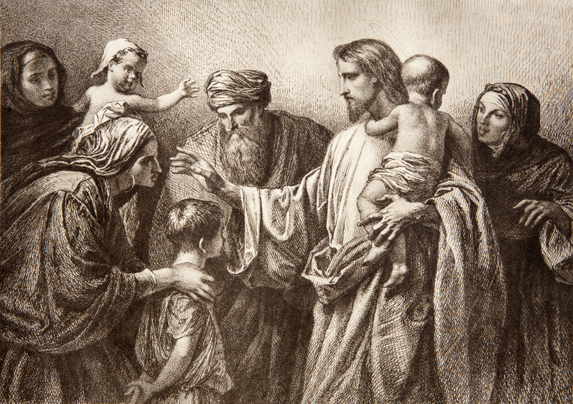 Jesus and children - engraving by Lepold Flumeng from early in 20. cent.